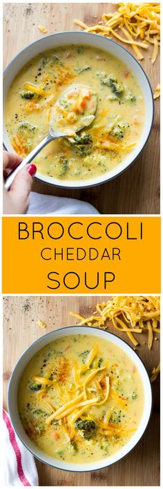 Broccoli Cheddar Soup - lightened up classic made with milk and olive oil. So creamy, rich and with fraction of the calories! Healthy Broccoli Cheese Soup, Veggie Soup Recipes, Broccoli Cheddar, Real Food Recipes, Cooking Recipes, Broccoli Soup, Broccoli Casserole, Hamburger Recipes, Potato Recipes