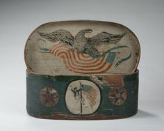 The oval, lidded patriotic ditty box is decorated with a sailor, an American flag, an eagle and stars. Eagles Tattoo, Early American, American Flag, Patriotic Symbols, Patriotic Images, Art Populaire, Antique Boxes, Painted Boxes, Old Glory