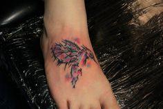 #watercolor #sketch #foot #color #hummingbird #takeflight #tattoo #studio13tattoomg