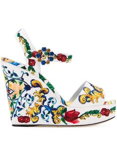 Shop for 'Bianca' wedge sandals by Dolce & Gabbana at ShopStyle. White Wedge Sandals, Ankle Wrap Sandals, Ankle Strap Wedges, Open Toe Sandals, Strap Sandals, Platform Wedges Shoes, Platform High Heels, Wedge Shoes, Shoes Sandals