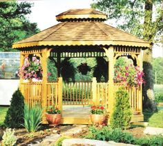 gazebo decorated w/ plants