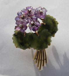 amethyst & jade violets brooch, Vienna, Austria