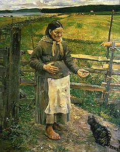 The Old Woman and the Cat ) (1885), Akseli Gallen-Kallela