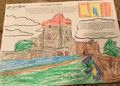 On #TravelTuesday explore to Ireland with your kids/students and Joy! Our free coloring pages give kids a look at what they would see in other countries & a chance to express their unique artistic side. We <3 this colorful creation by Samuel (6)!😀  #travel #kids #adventure #children #students #fun #color #coloring #ireland #irish #easterisland #school #homeschool #education #globaled #global #world #culture #flag #art #bear #teachers #parents #castle #shammrock #fourleafclover