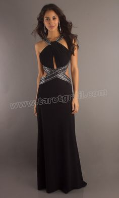 Floor High With Keyhole Cut Out Backless Sequin Black Prom Dress