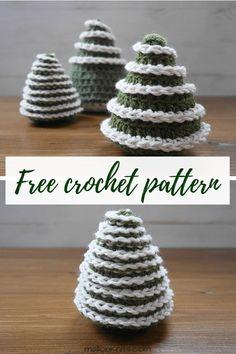 Easy crochet pattern, suitable for beginner crocheters. Crochet Christmas Decorations, Christmas Tree Pattern, Crochet Christmas Ornaments, Christmas Crochet Patterns, Holiday Crochet, Noel Christmas, Crochet Gifts, Crochet Geek, Beginner Knitting Patterns