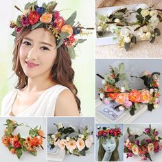 Wedding Multi-color Double Row Floral Hairband Fabric Rose Flower Crown S72 Spare No Cost At Any Cost Back To Search Resultsmother & Kids Accessories