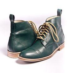Bespoke emerald green oxford boots.