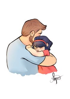 Tom and Marinette Father's Day Drawings, Cartoon Drawings, Cartoon Art, Cute Drawings, Father Daughter Photos, Dad Daughter, Clipart, Dad Drawing, Drawing Art