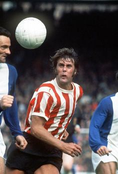 21st April 1973. Stoke City centre forward Geoff Hurst attempts to out run Birmingham City hard man Roger Hynd.