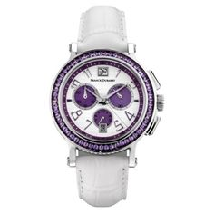 Pre-owned Franck Dubarry Crazy Color CC-02-03 42 mm Watch (47,740 MXN) ❤ liked on Polyvore featuring jewelry, watches, white wrist watch, white watches, purple watches, white dial watches and white jewelry