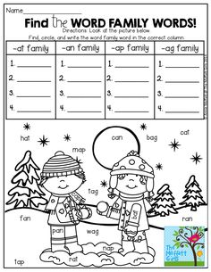Find the word family words in the picture! Write them under the correct column! FUN…FUN!!!  TONS of great printables!