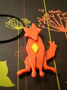 Aesops Fox Necklace Custom Colors Available by ElvenStarClayworks, via Etsy.