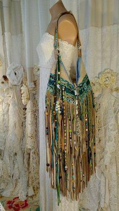 Custom for Borenda Tan Suede Fringe Shoulder Bag Tribal Boho Beads Purse tmyers #Handmade #ShoulderBag