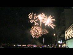 Spectacular fireworks at Javea moors and christians fiesta costa blanca Spain