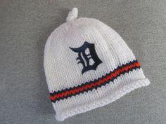 DETROIT TIGERS Hand Knit Baby Hat - Detroit Tigers Baby Hat - Michigan Hand Knitted Baby Hat by UpNorthKnitsAndGifts on Etsy https://www.etsy.com/listing/240575977/detroit-tigers-hand-knit-baby-hat