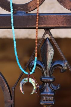 Boho Turquoise Crescent Necklace with Pave by HappyGoLuckyJewels