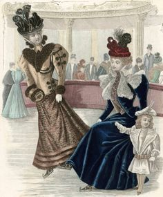 Victorian Fashion - 1893 to 1896.  Scene of an ice skating rink rather than a natural pond.
