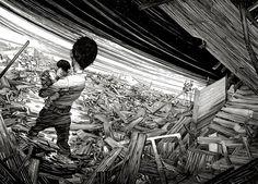 """Nicolas Delort vive e trabalha no subúrbio de Paris, onde ele cria ilustrações usando apenas tinta preta. """"Incrível"""" seria pouco para descrever um trabalho que merece muito mais elogios…"""