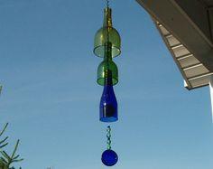 Azul reciclado botella de carillón de viento con luz por WinenTwine