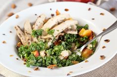 Kale, Chicken and Peach Salad, with just what it takes of Candied Almonds - The Healthy Foodie