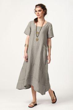 PLS fashion : Φόρεμα λινό μακρύ (8141) Short Sleeve Dresses, Dresses With Sleeves, Linen Dresses, Shirt Dress, T Shirt, Fashion, Supreme T Shirt, Moda, Shirtdress
