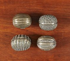 4 Silver Nutmeg Graters made in Birmingham mid 1800s