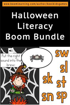 Bundle of Halloween themed BOOM cards that will help students work on alphabet recognition and letter case matching, consonant blends, phonics, sight words and more! Grab this while the price is low and get all future decks added to your library for free. Your preschool and kindergaten students will love the cute games featuring ghosts, witches, spiders, monsters, etc #halloween #boomcard #boomdeck #literacy #prek #kindergarten