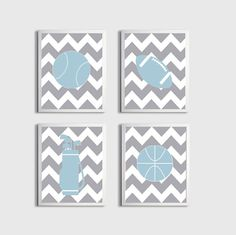 Nursery Sports Football Basketball Golf Art Chevron Boy Girl Baby Blue Kids Room customizable set of 4 wall art prints each 11x14 on Etsy, $56.00