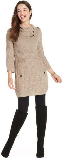 Style&co. Marled Ribbed-Knit Sweater Tunic, Style&co.'s marled-knit sweater tunic makes the perfect match for your favorite leggings! Wear with riding boots for a refined fall look.