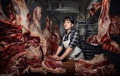 Women's Work:Chris Crisman , a commercial photographer, recently captured his 'Women's Work' series after meetingHeather Marold Thomason (pictured), a woman who gave up her career in web design to become a butcher