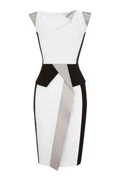 Color Block Cap-Sleeve Dress With Peplum Detail