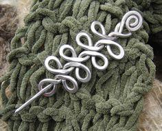 Celtic Braid Shawl Pin, Hair Pin, Scarf Pin, Sweater Fastener, Barrette, Hair Slide - Aluminum -Women Knitting -  Long Hair Accessories
