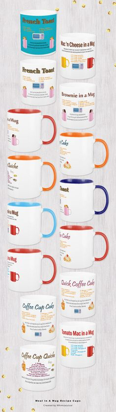 Meal in A Mug Recipe Cups for macaroni and cheese, coffee cake and much more.