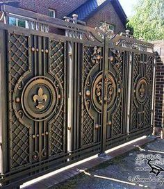 17 Elegant Gates To Transform Modern Main Gate Designs, Iron Main Gate Design, Grill Gate Design, House Main Gates Design, Steel Gate Design, Front Gate Design, Door Gate Design, Metal Gates, Wrought Iron Gates