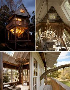 Camp Treehouse was built by a group of friends for Wandawega Rentals, a private resort in Wisconsin. The two-story treehouse was built on an old dead tree trunk and includes a wrap-around porch, a vaulted ceiling with a loft, a hammock, a ladder and a rope swing. Nearly all materials were reused or handmade.