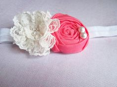 Lace flower with coral rosette headband $8