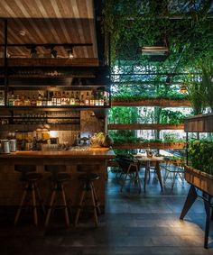 Segev Kitchen Garden is a new chef restaurant located in Hod-Hasharon near Tel Aviv.The restaurant is designed like a greenhouse with herbs hanging. Deco Restaurant, Restaurant Concept, Greenhouse Restaurant, Forest Restaurant, Restaurant Kitchen, Restaurant Ideas, R Cafe, Cafe Bar, Bar Interior