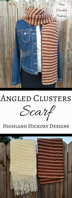 Crochet the Angled Clusters Scarf for a super wide, super warm and super stylish cold weather accessory! This free pattern uses an easy 2 row repeat.