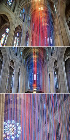 installation by Anne Patterson in Grace Cathedral, San Francisco. (20 miles/32 km of colourful ribbon hanging from the vaulted ceiling)