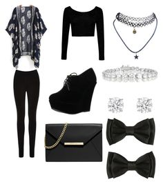 """""""all black"""" by avilchis ❤ liked on Polyvore featuring Oasis, Forever Link, Boohoo, Wet Seal, MICHAEL Michael Kors and Collette Z"""