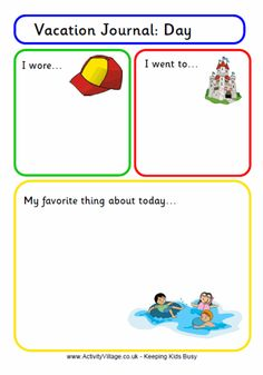 Get the kids thinking and writing about their vacations and recording each day with our fun printable vacation journal pages. Vacation journal page 1 and Vacation journal page (blank) also available. Disney Vacations, Disney Trips, Vacation Trips, Disney Travel, Beach Trip, Vacation Ideas, Photography New York, Kids Travel Journal, Summer Journal