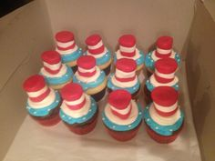 Dr Seuss Cat in the Hat cupcakes