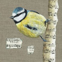 "I love the birds in my garden, they are a constant source of amusement and inspiration.  My blue tit is painted in acrylics on a dark natural canvas board and is perched on a ""branch"" of  vintage m..."