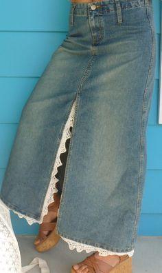 Denim Skirt Repurposed/Upcycled Vintage Crochet Lace Skirt Prairie Farmgirl Boho Goth. $32.00, via Etsy.