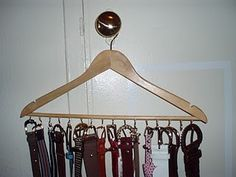 Organization DIgenY: How-To: Easy Belt Organizer Lawrence Bedding Collections and Ensembles Article Belt Rack, Belt Hanger, Scarf Hanger, Hangers, Belt Storage, Clothes Storage, Diy Belts, Closet Organization, Organization Ideas