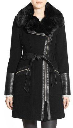 Shop Now - >  https://api.shopstyle.com/action/apiVisitRetailer?id=503639744&pid=2254&pid=uid6996-25233114-59 Women's Via Spiga Faux Leather & Faux Fur Trim Belted Wool Blend Coat  ...