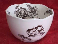 wonderful toile bunny bowls   ebay