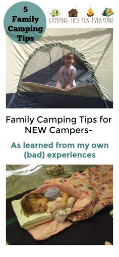Family Camping Tips for NEW Campers. Tips from first time campers from Camping Tips for Everyone. #tentcamping #campingtips