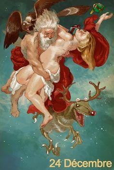 'Père et Mère Noël commencent la distribution, avec leur archéoptéryx domestique & Rudolf le Deinonychus' C'est la fin de ce calendrier de l'Avent! Merci à tous de l'avoir suivi, et bien sûr: Joyeux Noël à tous! ♥